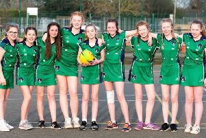 Louth Academy Year 8 girls' netball team - Maddison Drury, Rachel Booth, Faith Jacklin, Brook Clifford, Evie Wood, Talli Blakey, Olivia Cooper, Madison Ely and Sophie Appleby.'Picture: Sean Spencer/Hull News & Pictures EMN-190415-162214002