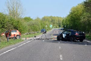 The scene of the collision on the A27 Pevensey Bypass, photo by Dan Jessup
