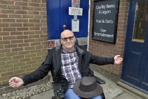 Ian Westgate who is unhappy that the refurbishment of Langney shopping centre in Eastbourne does not include a disabled toilet (Photo by Jon Rigby) SUS-190404-093727008