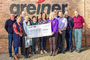 Pictured accepting the cheque from staff and representatives of Greiner Packaging are Niamh Louise Foundation Patron, Malachi Cush, and Niamh Louise Foundation Secretary, Jennifer Orton.