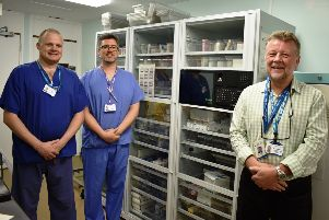 Tim Coombes PACU practitioner, Keith Talbot charge nurse PACU and Harry Walmsley, the chair of the Friends of Eastbourne Hospital SUS-190705-102802001