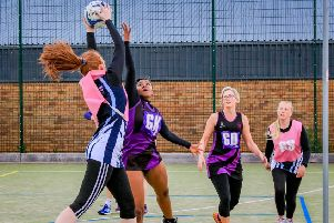 Action from the netball league this week. Photo: David Dales.