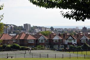 View across Old Town Eastbourne to sea from Old Town Rec. August 21st 2012 E34030N ENGSUS00120120821171602