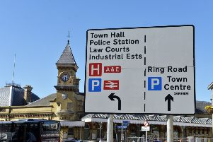 Road sign giving directions to the Law Courts in Eastbourne (Photo by Jon Rigby) SUS-190515-131144008