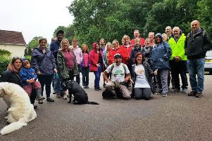 Gathering for a communal walk organised by Marmalade Trust
