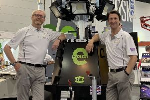 Phil Winnington, international business director, and Chris Morris, chief executive, with the SMC TL90 Evolve, in Melbourne.
