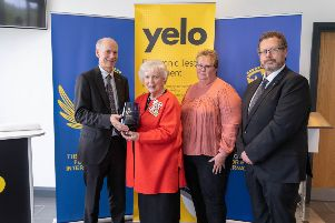 At the award presentation are, from left to right, Richard Furey, Lord Lieutenant Joan Christie CVO OBE, Lynn Good and David Sinclair.