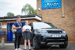 England international George Ford surprised Izzy Herron at her school with the news she has been chosen to be a mascot at the Rugby World Cup in Japan