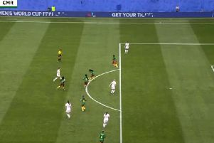 A still image showing Ellen White (centre of the pitch) to be onside as she scored against Cameroon yesterday