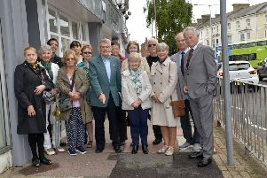 Marie Hennelly with Councillors and campaigners who want County Council to improve pavements in Eastbourne (Photo by Jon Rigby) SUS-190620-080902008
