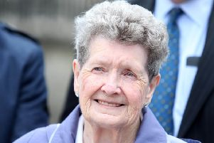 Bea Worton, whose son was killed in the Kingsmill massacre, pictured outside the High Court in Belfast in 2016 where she was seeking leave to appeal the naming of a playwark in Newry named after hunger striker Raymond McCreesh. Photo: Jonathan Porter/PressEye