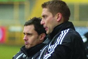 Paul Hurst, left, with Rob Scott.