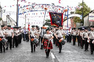 Lisburn Young Defenders led by Drum Major Naomi Orr on route to the field, Pic by Norman Briggs, rnbphotographyni