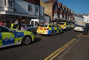 Police on scene in St Aubyn's Road, photo by Dale McCartney