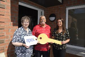 John and Silvia Taylor with Christina Doran from Apex.  Picture: Michael Cooper