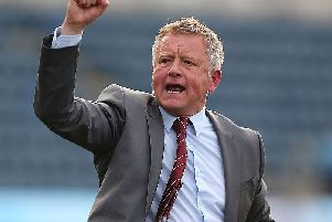 Chris Wilder celebrates a crucial win at Wycombe back in 2015