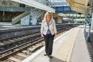 MP for Lewes Maria Caulfield at Lewes railway station