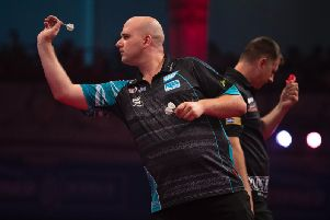 Rob Cross in last 16 action. Picture by Lawrence Lustig/PDC