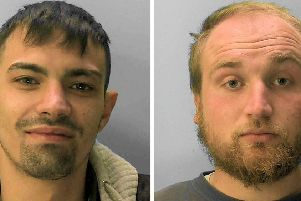 Sam Perdomo (left) and Thomas Fear have been sentenced to three years in prison for drug dealing