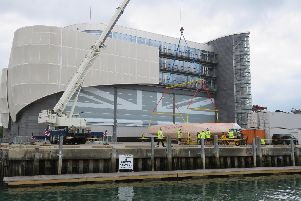 Team Ineos UK's base in Old Portsmouth receives a delivery, for its 2021 America's Cup boat. Picture: Gower Lloyd