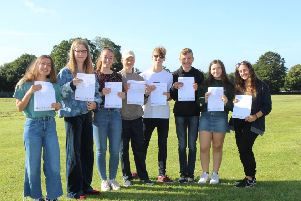 Heathfield Community College students with their results.