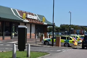 Emergency services on scene at McDonald's in Lottbridge Drove, Eastbourne. Photo by Dan Jessup