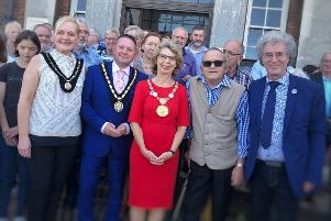 Members of Twinning Associations from two countries with  Mayor of Skegness Mark Dannatt and Mayoress Louise Saxon (left), Mayor of Bad Gandersheim Franziska Schwarz, chairman of Skegness Twinning Association Brian Chapman, and chairman of Bad Gandersheim twinning Norbert Braun at the civic reception in Skegness.