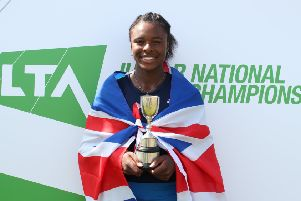 Hemel Hempstead's Jaquelyn Ogunwale with her national junior championship trophy at Nottingham at the weekend.