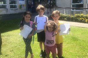 Children protesting against weedkillers outside Eastbourne council