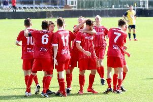 Hassocks celebrate their goal at Eastbourne Town on Saturday. Picture by Joe Knight