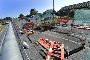 Sink hole in Wartling Road, Eastbourne (Photo by Jon Rigby) SUS-190919-105409008