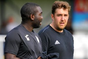 Loxwood manager Alex Walsh (right) and assistant manager Nathan Bowen. Picture by Steve Robards