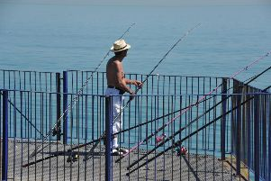 Eastbourne pier fishing. July 24th 2012 E30066N ENGSUS00120120724172203