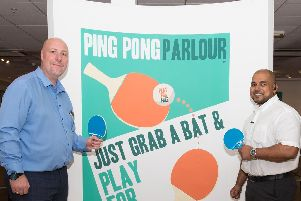 Shoppers are invited to have a go in the Ping Pong Parlour