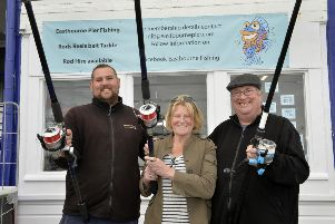 Eastbourne Pier Fishing - Opening Day, L-R; Dan Jameson; Jan Green and Andy Vine (Photo by Jon Rigby) SUS-190710-082611008