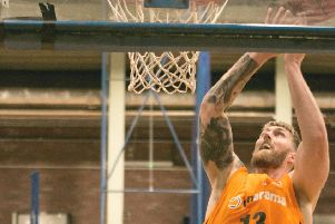 Hemel Storm's 7ft centre Lee Hodges led all scorers with 24 points in the win over Nottingham Hoods last Saturday. (Picture by Joanne Charles).
