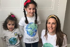 Sally Lee and her two children joined in peaceful protests in London
