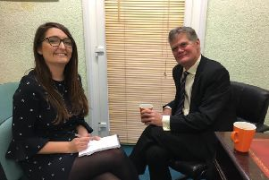 Stephen Lloyd MP is interviewed by Herald reporter Ginny Sanderson