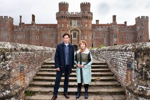 Landscape Artist of the Year presenters Stephen Mangan and Joan Bakewell at Herstmonceux Castle