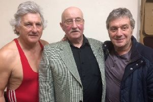 Barry Cooper (left) pictured with Steve Grey (right) and former wrestler Ivan Keemar