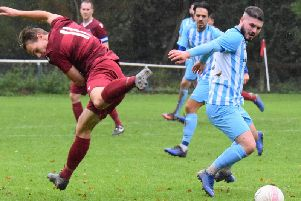 Matt Rodrigues-Barbosa (right) in action for AFC Uckfield against Little Common in the Peter Bentley Cup. Picture by Mike Skinner