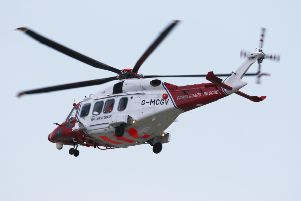 The Coastguard helicopter was called to the scene