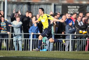 Gosport's Tim Sills celebrates one of his two goals in Borough's 2-0 Trophy semi final second leg win over Hawks in 2014 - one of two occasions Hawks have reached the last four.