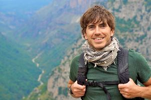 Programme Name: Greece With Simon Reeve - TX: n/a - Episode: n/a (No. 2) - Picture Shows: at the Vikos Gorge, the deepest gorge in the world.  Simon Reeve - (C) BBC - Photographer: Olly Bootle SUS-191010-154016003