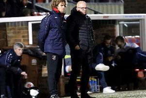 New Eastbourne Borough manager Danny Bloor (left) and player/assistant manager Sergio Torres. Picture courtesy of Eastbourne Borough FC