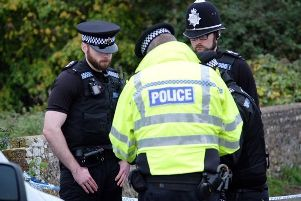 Officers at the scene in Lewes yesterday. 'Picture: Peter Cripps