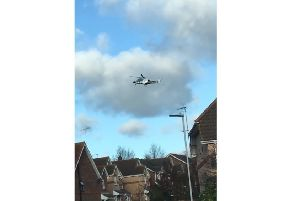 The air ambulance in Eastbourne this afternoon, image by Frazer Wilson