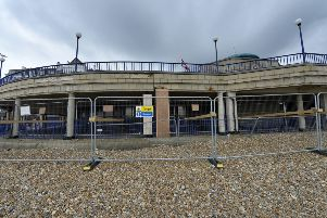Barriers on the beach around Eastbourne Bandstand whilst maintenance works are undertaken (Photo by Jon Rigby) SUS-190715-114158008