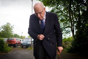 The Right Reverend Bishop Peter Ball arrives at Taunton Magistrates Court, Taunton, Somerset in 2014