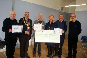 Rotarian Ian Stevens, Leamington Mayor Bill Gifford, Rotary club President Colin Robertson, Alzheimers Society Midlands Area Central Area Manager Janice Le Tellier, Rotarian David Greenwood, Alzheimers Dementia Friends Champion John Daly.
